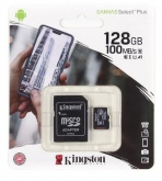 Карта памяти microSDXC 128Gb Kingston Canvas Select Plus (100Mb/s, 10Mb/s, class 10)+ адаптер на SD