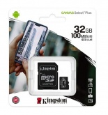 Карта памяти microSDHC 32Gb Kingston Canvas Select Plus (100Mb/s, 10Mb/s, class 10) + адаптер на SD