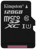 Карта памяти microSDXC 128Gb Kingston Canvas Select UHS-I(80Mb/s, 10Mb/s, class 10)